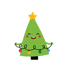 christmas tree character holding in hands garland vector image