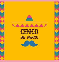 Cinco de mayo mexican mariachi sombrero quote card vector