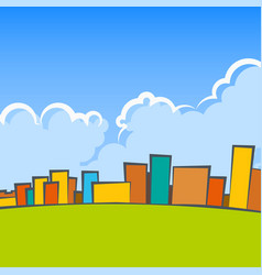 city landscape with colorful houses vector image