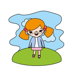 Color girl child with two tails in the landscape vector