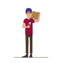 Courier with a box on his shoulders express vector