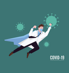 doctor superhero working in hospital and fighting vector image