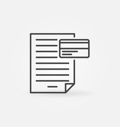 document with credit card icon in thin line vector image
