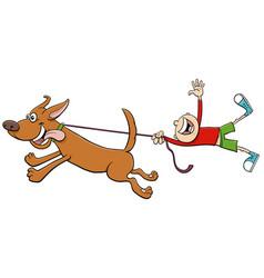 Dog pull kid on leash cartoon vector