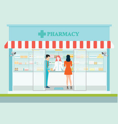 female pharmacist at the counter in a pharmacy vector image