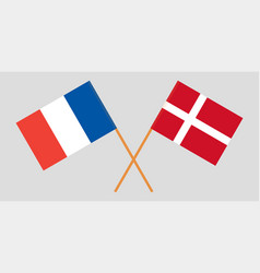 France and denmark flags official colors vector
