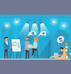 freelance group presentation at coworking area vector image