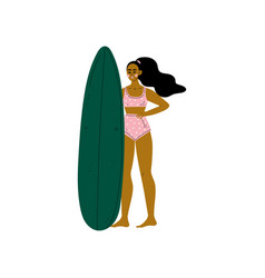 girl surfer in pink bikini with surfboard young vector image