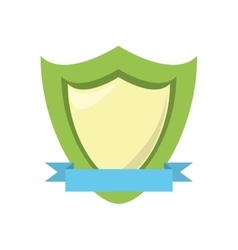 Green shield protection emblem blue ribbon vector