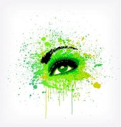 Grunge abstraction green make-up vector image