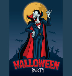 halloween design of vampire with graveyard vector image