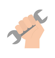 Hand human with wrench tool vector