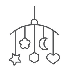 Hanging toys thin line icon child and bed vector
