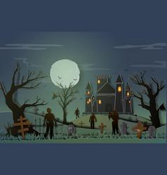 Happy halloween design paper style with zombie vector