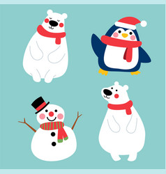 happy winter character in winter costume vector image
