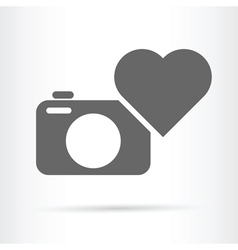 Heart camera icon vector