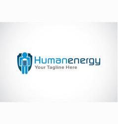 human energy logo template design emblem design vector image