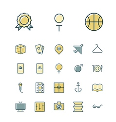 Icons thin blue leisure travel vector