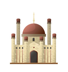 Islamic mosque ancient castle with round roofs and vector