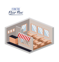 isometric floor plan of restaurant interior set vector image