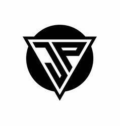 Jp logo with negative space triangle and circle vector