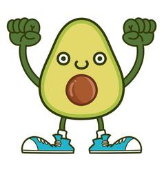 Kawaii smiling avocado fruit with sneakers cartoon vector