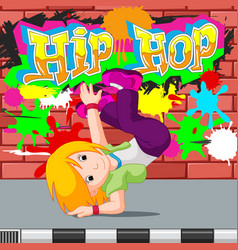 Kids dancing hip hop vector