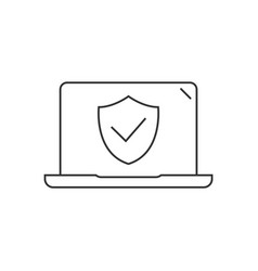 laptop computer protected linear icon on white vector image