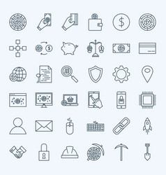 line cryptocurrency icons vector image