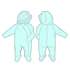 Long-sleeve hooded jumpsuit for a baby boy vector
