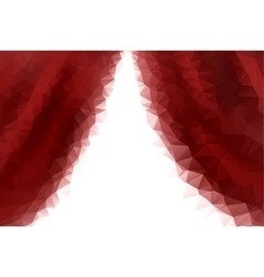 low poly empty red stage entrance curtains vector image