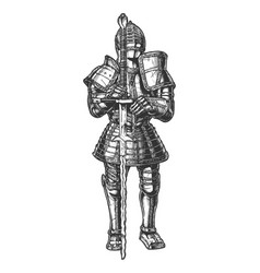 Medieval knight in full battle armour vector