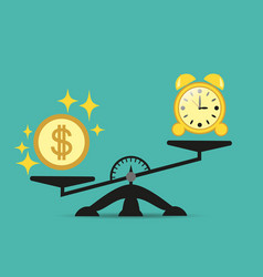 money is harder than time on the scales balance vector image