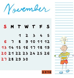 november 2016 kids vector image