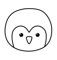 penguin face polar animal bird icon line style vector image