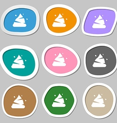 Poo icon symbols Multicolored paper stickers vector