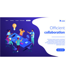 Productive team communication isometric 3d landing vector