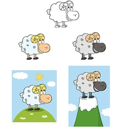 Ram Cartoon Character Collection vector image