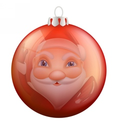 Reflection santa claus in christmas ball vector