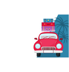 retro car with suitcases on rotraveling vector image
