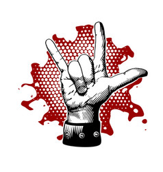 rock and roll metal devil horns gesture vector image