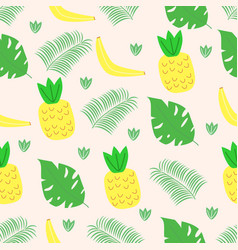 seamless pattern with fruits and leaves in scandin vector image