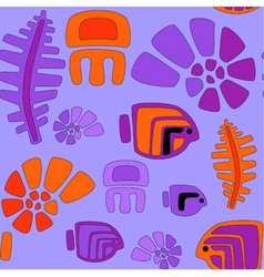 seamless stylized tribal pattern with aquatic anim vector image