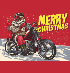 senior biker wear santa claus costume and riding vector image vector image