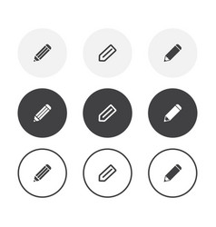 set 3 simple design pencil icons rounded vector image