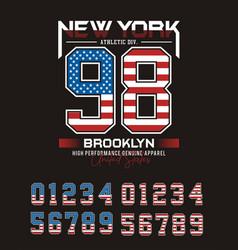 Set numbernew york brooklyn 98 typography design vector