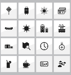 Set of 16 editable trip icons includes symbols vector