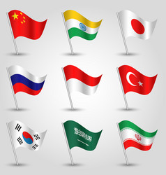 set of waving flags countries largest economies vector image