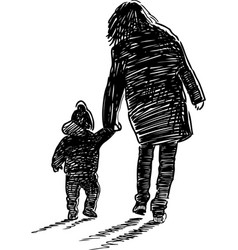 Silhouette a woman with a baby vector