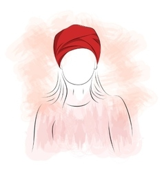 Silhouette of woman in red turban vector